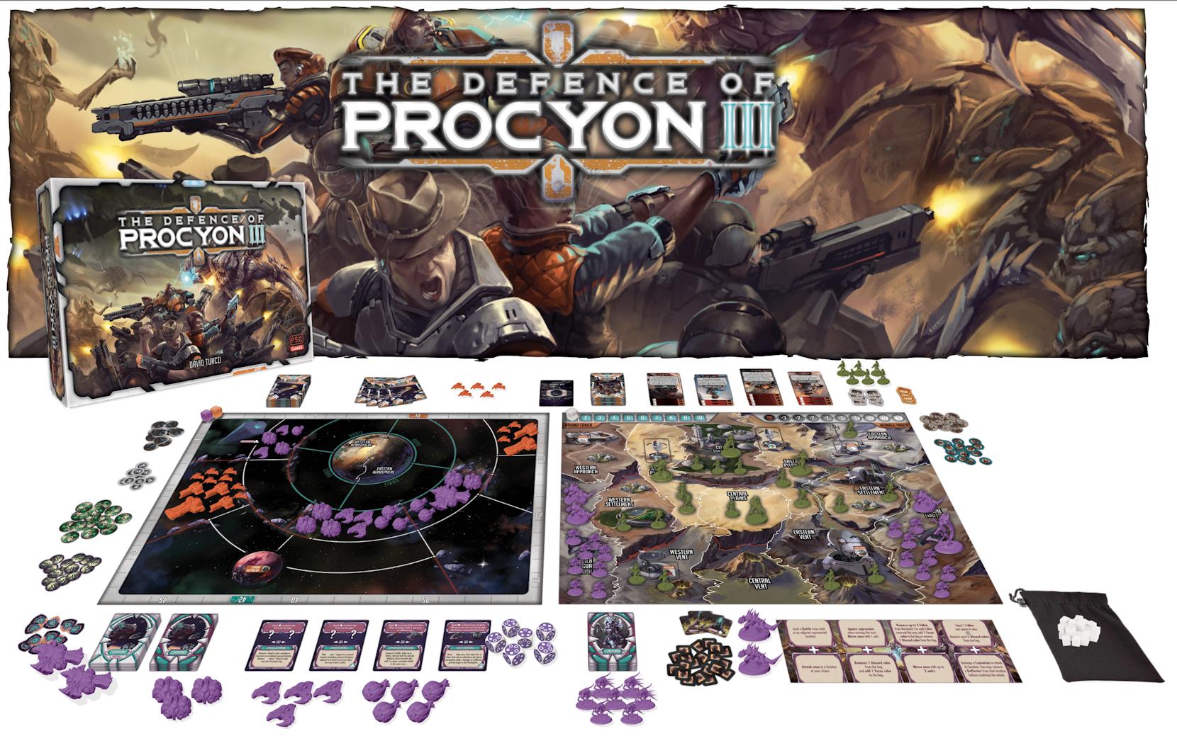 Die Verteidigung von Procyon III Brettspiel Inhalt